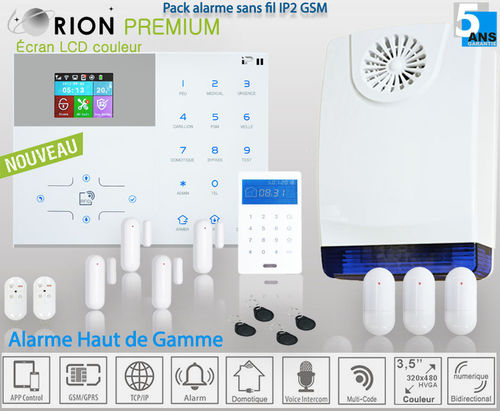 Kit alarme maison sans fil GSM/IP PREMIUM ORION IP2