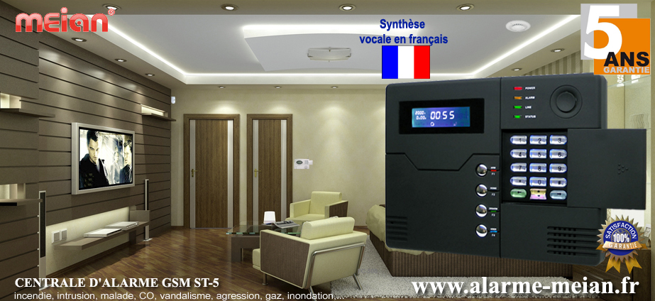 kit alarme de maison sans fil haute gamme gsm sms. Black Bedroom Furniture Sets. Home Design Ideas