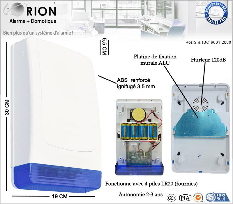 Sirène sans fil extérieur 110dB flash extérieur 100% autonome à piles