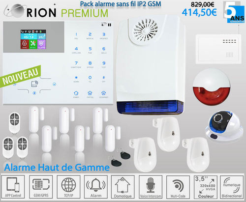Kit alarme maison sans fil Meian GSM/IP PREMIUM ORION IP2 CAMERA